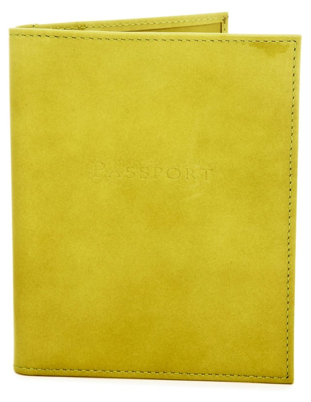Leather Passport Wallet, Moss