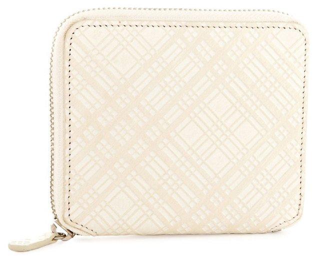 Small Goatskin Zip Wallet, Ivory