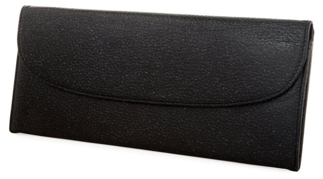 Leather Ticket Wallet, Black