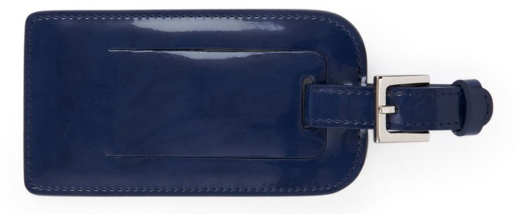 Patent Leather Luggage Tag, Navy
