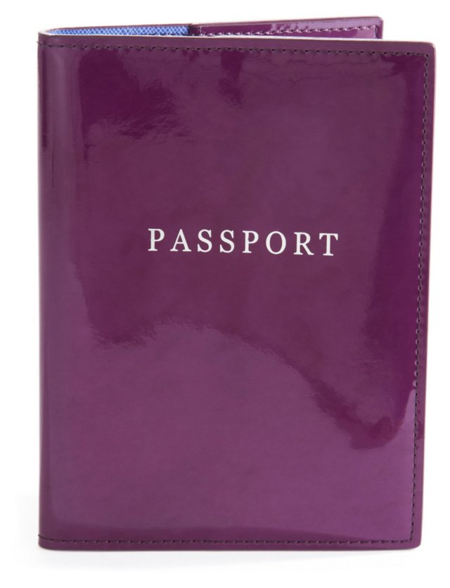 Patent Leather Passport Holder, Plum