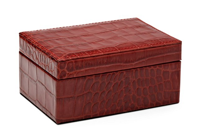 Small Embossed Leather Box, Red