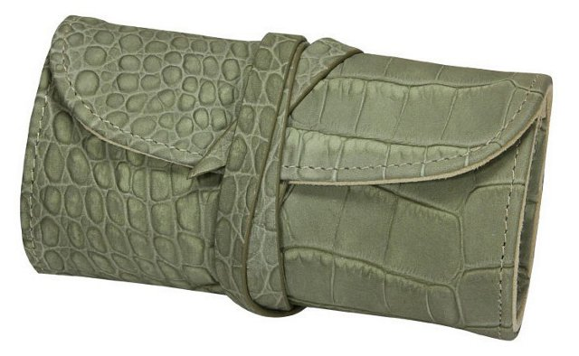Embossed Leather Jewelry Roll, Moss