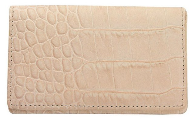 Embossed Leather Card Case, Taupe