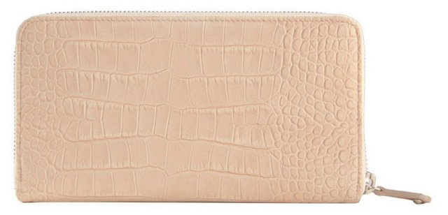 Large Continental Leather Wallet, Taupe