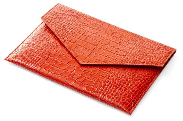 Embossed Leather iPad Envelope, Orange