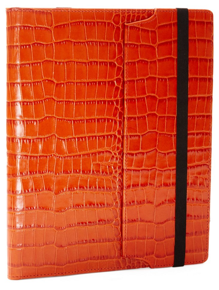 Embossed Leather iPad Case, Orange