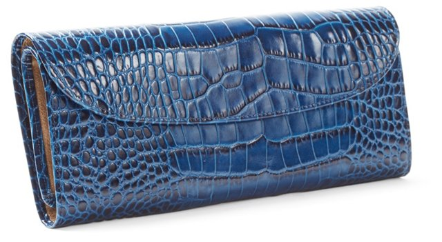 Embossed Leather Jewelry Roll, Blue