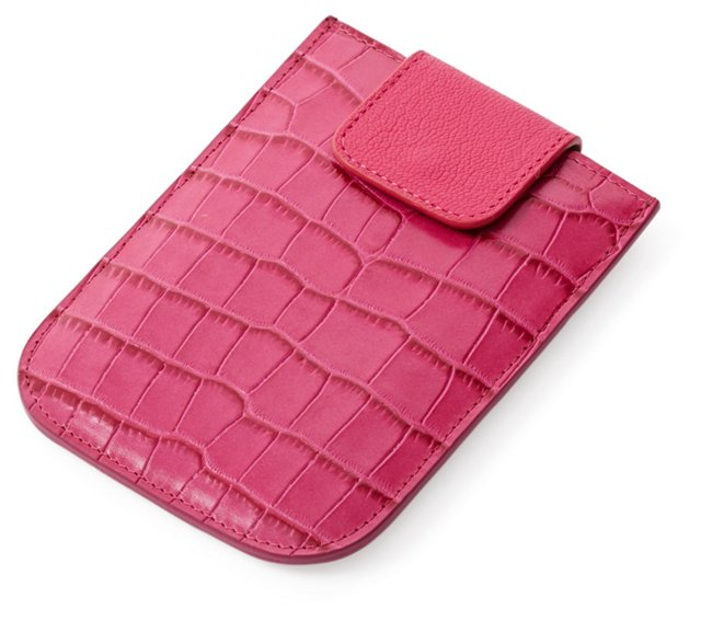 Embossed Leather Phone Sleeve, Pink