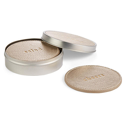 S/4 Cocktail Coasters w/ Tin, Silver