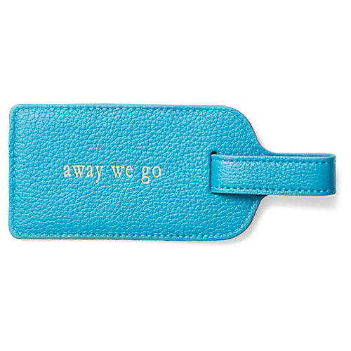 Away We Go Luggage Tag, Turquoise