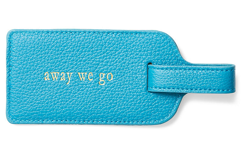 Away We Go Luggage Tag - Turquoise