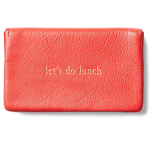 Let's Do Lunch Goatskin Card Case, Red