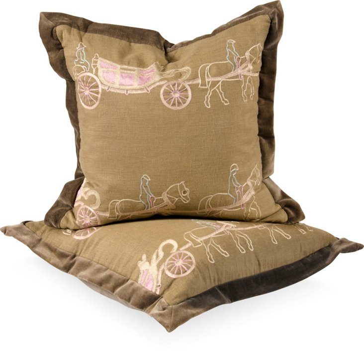 Two Horse Carriage Pillows, Pair