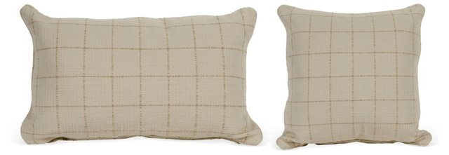 Ivory/Taupe Geometric Pillows, Set of 2