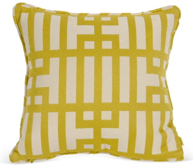 Ivory & Chartreuse Geometric Pillow