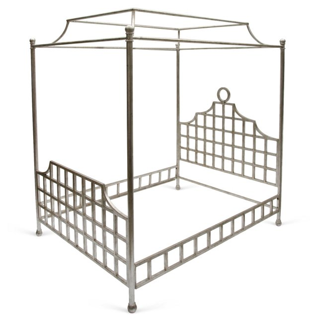 Silver Canopy Bed Frame, Queen