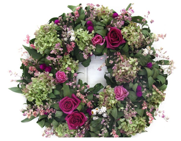 """18"""" Roses & Larkspur  Wreath, Dried"""