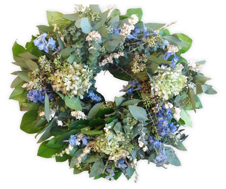 "18"" Eucalyptus & Hydrangea Wreath, Dried"