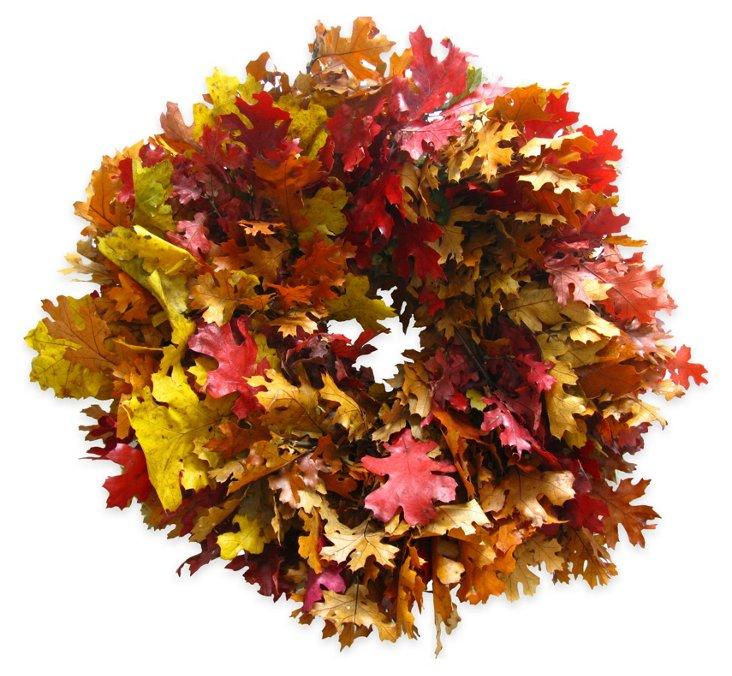 "20"" Fall Leaves Wreath, Dried"