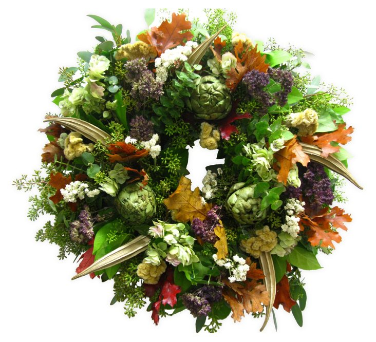 """18"""" Fall Leaves & Coxcomb Wreath, Dried"""