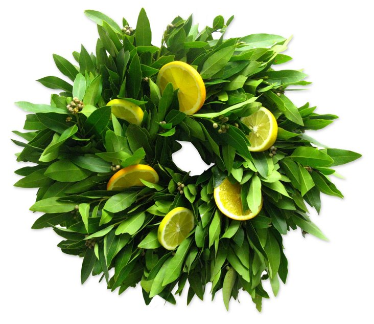 """18"""" Bay Leaf & Citrus Wreath, Dried"""