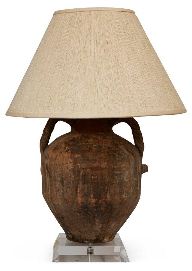 Terracotta Vessel Lamp w/ Shade