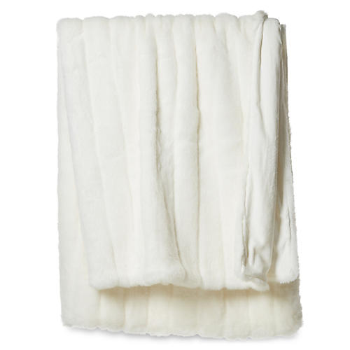 Faux-Fur Acrylic Throw, White Mink