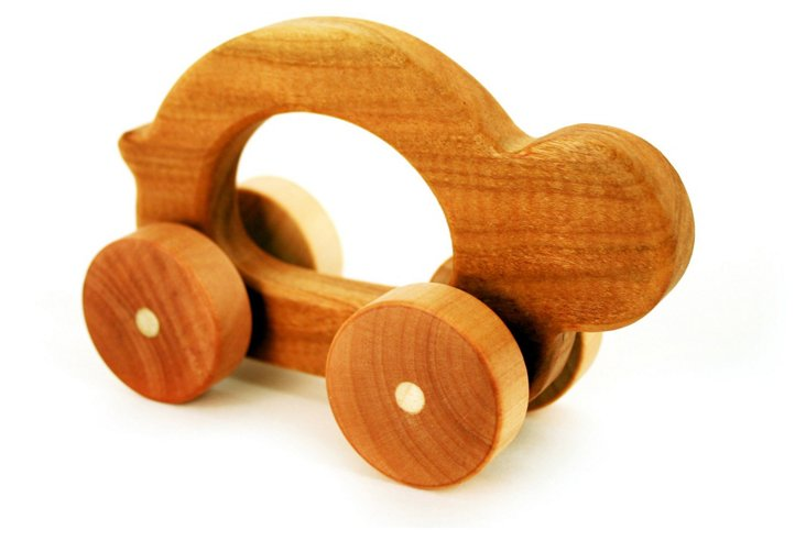 Cherry/Maple Wood Toy Car, Shelly
