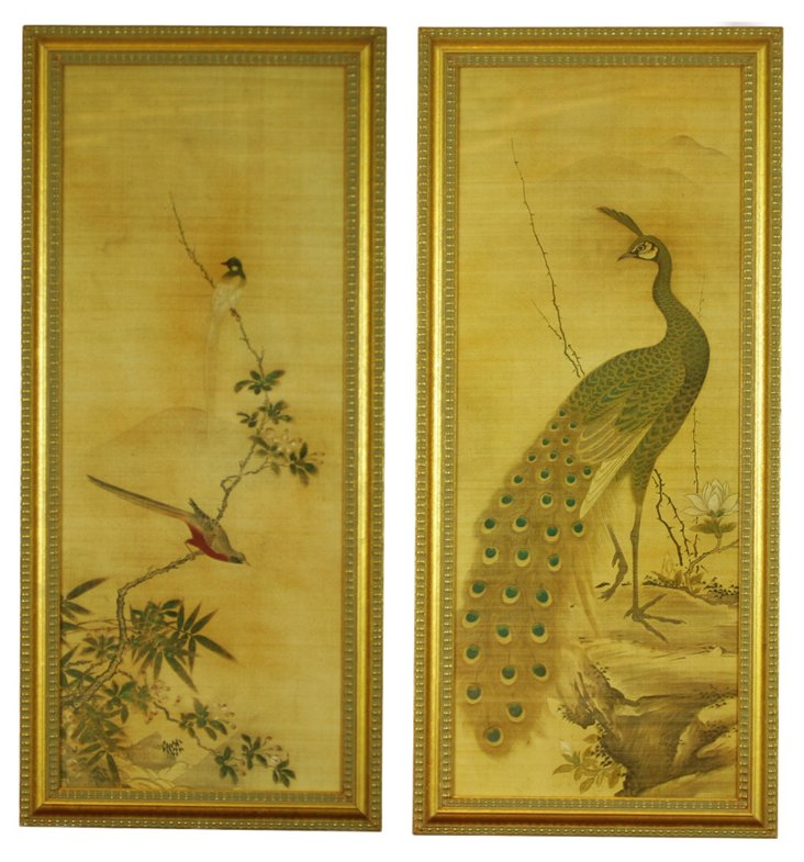 Japanese Bird Panels Diptych