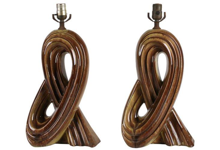 Knot Motif Ceramic Lamps, Pair