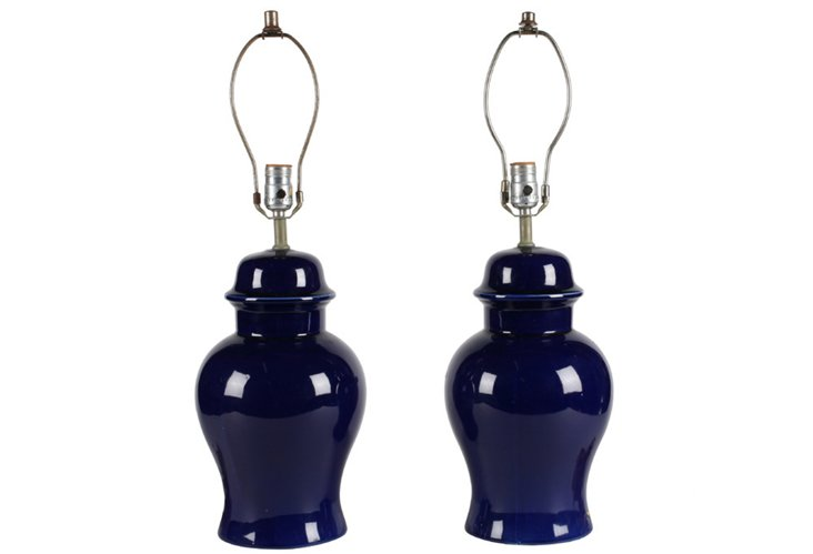 Cobalt Ginger Jar Ceramic Lamps, Pair