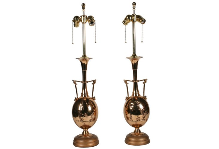 French Rose Bronze Lamps, Pair