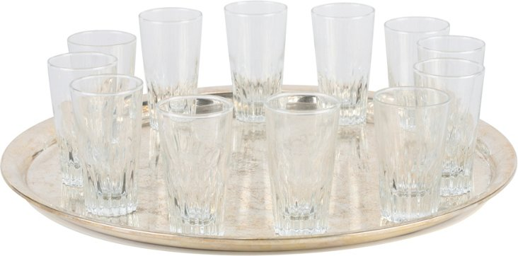 Silverplate Tray w/ 12 Small Glasses