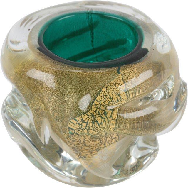 Barovier Gold Flake & Green Bowl