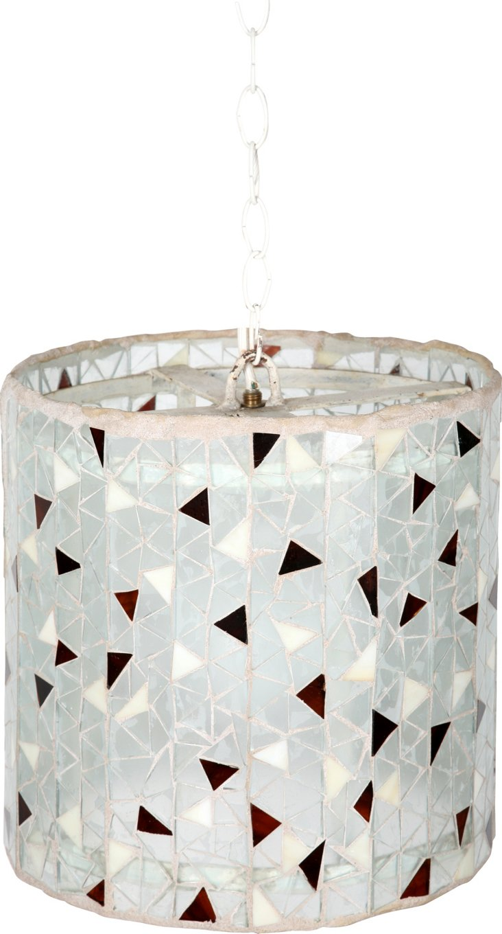 1960s Glass Mosaic Hanging Lantern