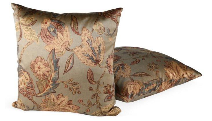 Silk Floral Pillows, Set of 2, I
