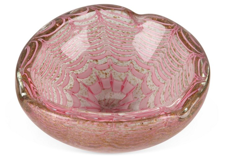 Pink & Gold Spider Web Murano Bowl