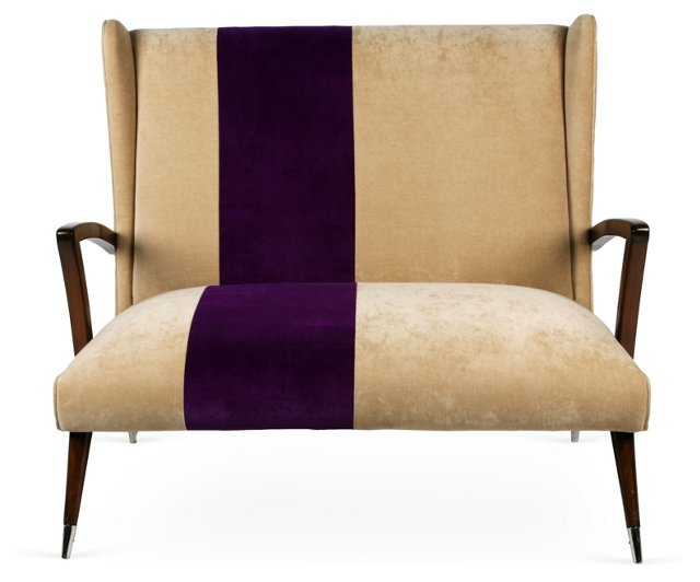 Italian Purple Stripe Settee