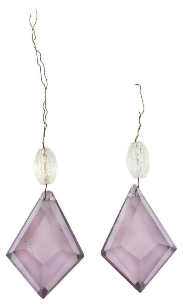 Purple Stone Chandelier Drops, Set of 2