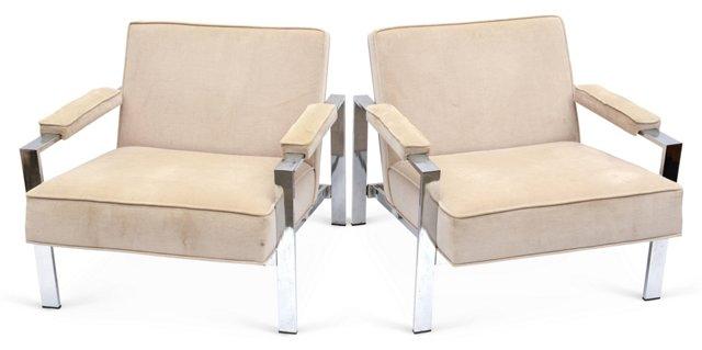 Vintage Chrome-Base Armchairs, Pair