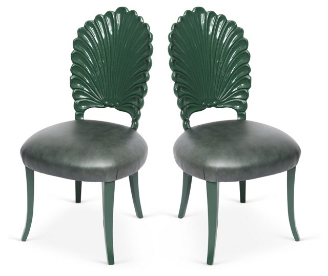 Lacquered Shell-Back Chairs, Pair