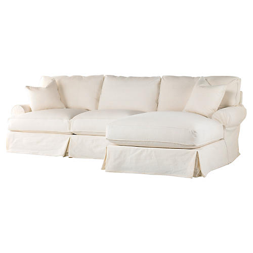 Comfy Slipcovered Sectional, Cream Linen