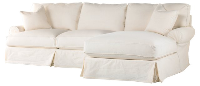 Comfy Sectional, Antique White Linen