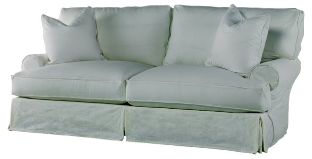 "Comfy 90"" Slipcovered Sofa, Gray Linen"