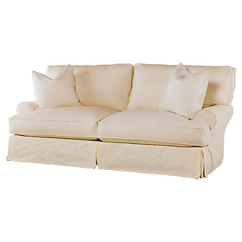 Comfy Slipcovered Sleeper Sofa, Natural Linen