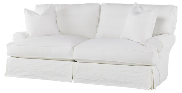 "Comfy 91"" Queen Sleeper Sofa, White"