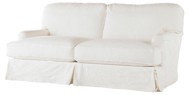 """Dover 83"""" Slipcovered Sofa, White"""