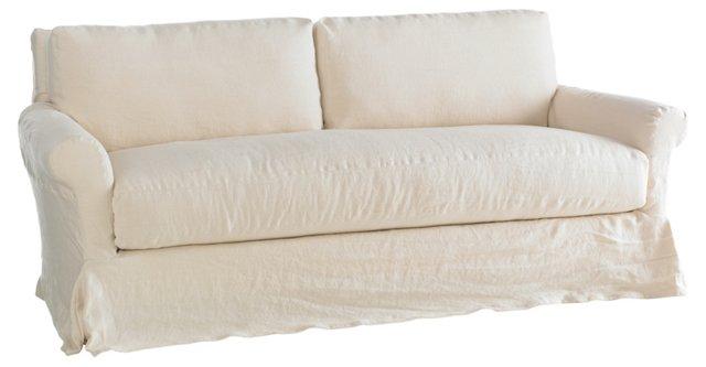 "Sterling 82"" Linen Sofa, Antiqued White"