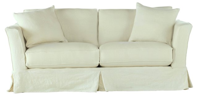 "Loft 86"" Sofa, Light Green Linen"